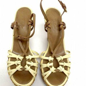 Prada Brown/Cream Knotted Strappy Wedges Sz 7.5-8